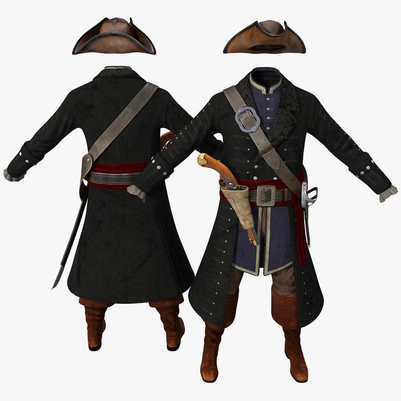 3d pirate costume model