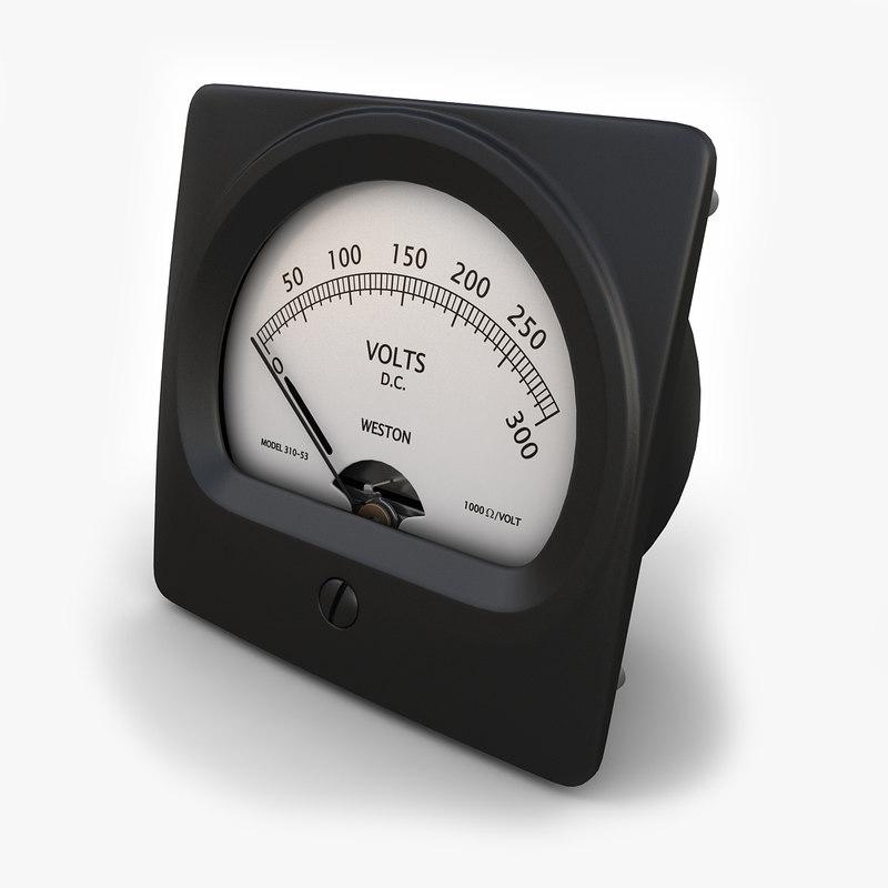 3d vintage dc voltmeter 02 model