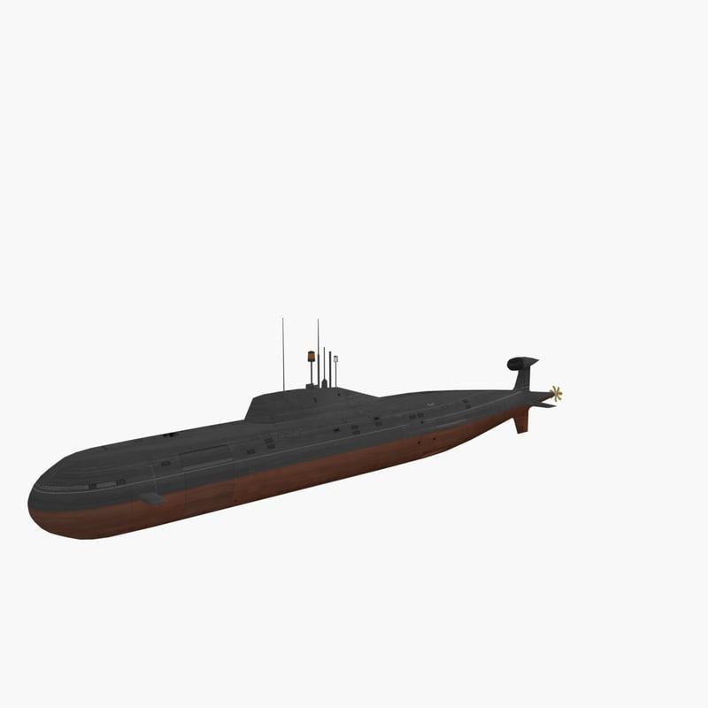 971 akula attack submarine 3d max