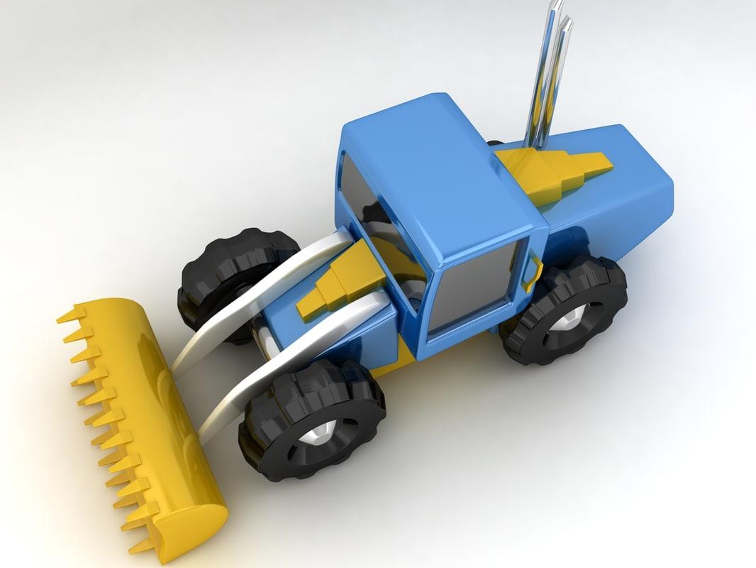 cartoon bulldozer 3d obj