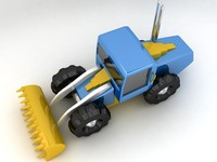 cartoon bulldozer 3d obj