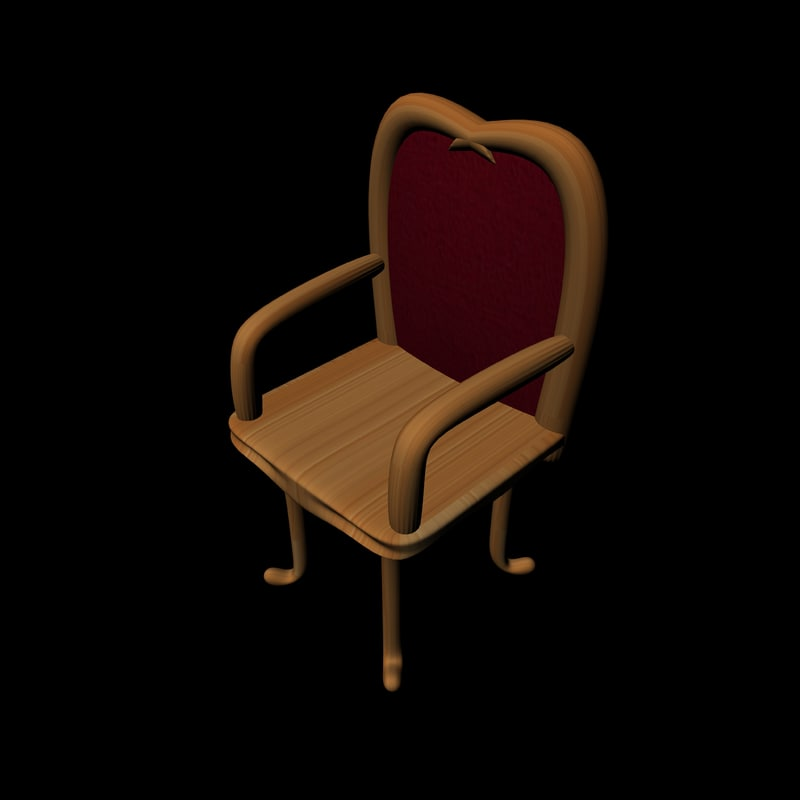 free simple wooden chair 3d model