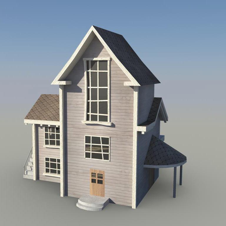 3d model cartoon background house