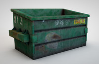 3d old dirty dumpster