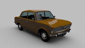 3d model old car fiat