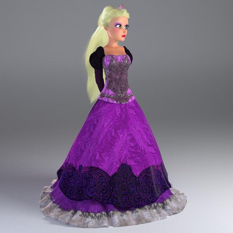 cartoon princess rigged bella 3d model