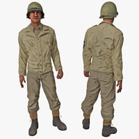 American WWII Infantry Soldier 3 Rigged