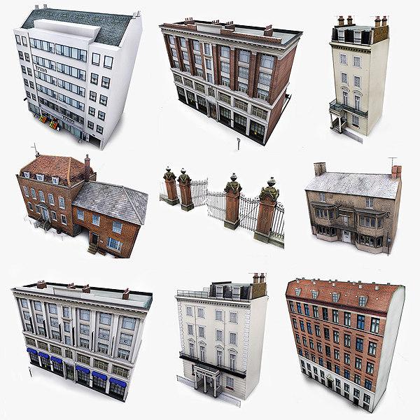 photorealistic european buildings city max