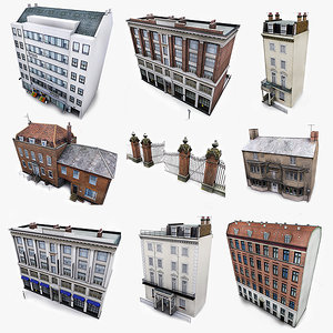 photorealistic european buildings city max
