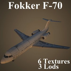 fokker airlines aircraft 3d max