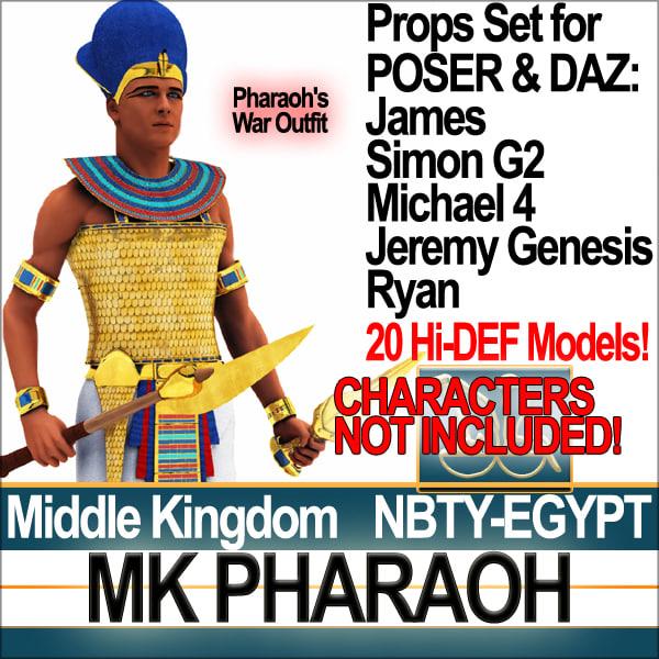 3d model egyptian mk pharaoh props