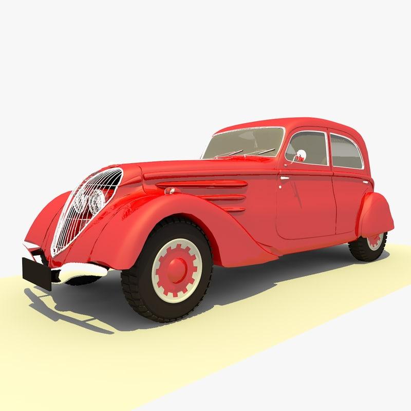 3d model classic 1939 peugeot red