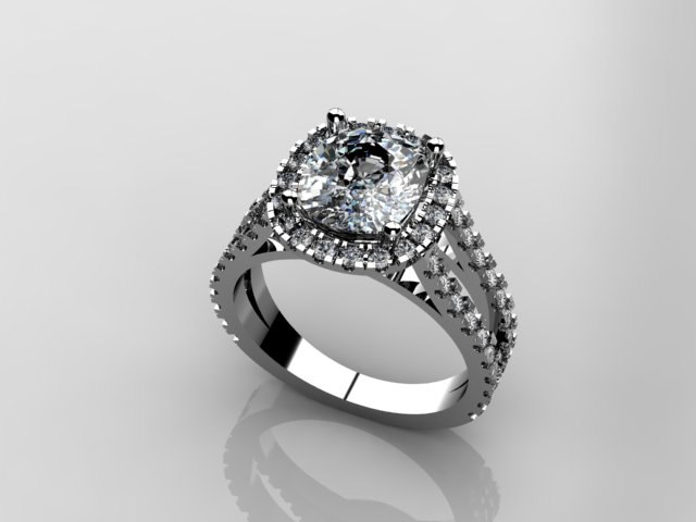 3d model cushion diamond