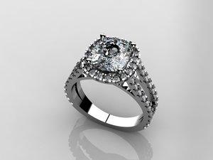 3d model cushion diamond