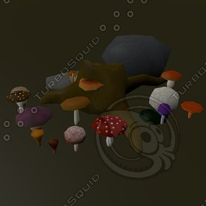 mushrooms stump 3d x
