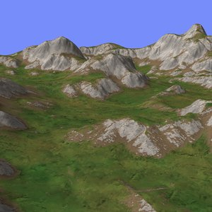 3d grassy terrain tm1-01 model