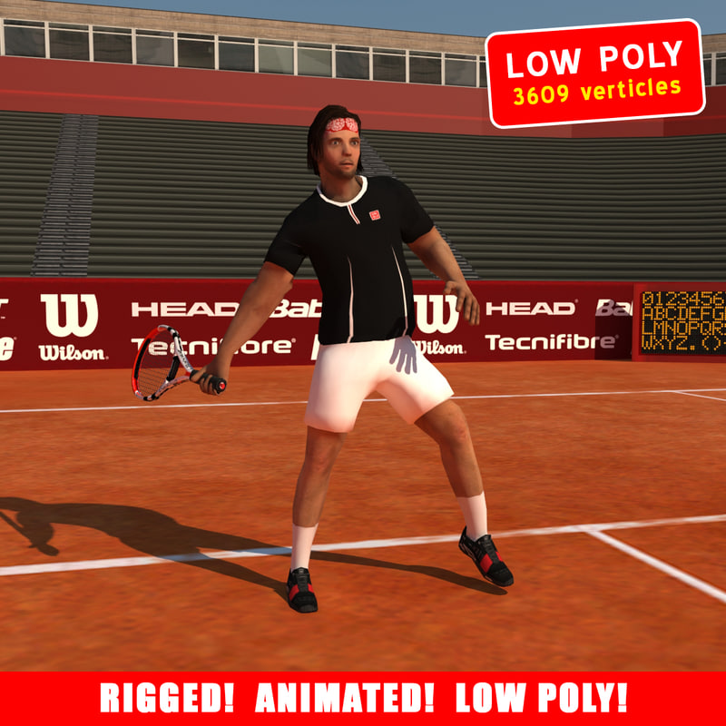 3d rigged tennis player model
