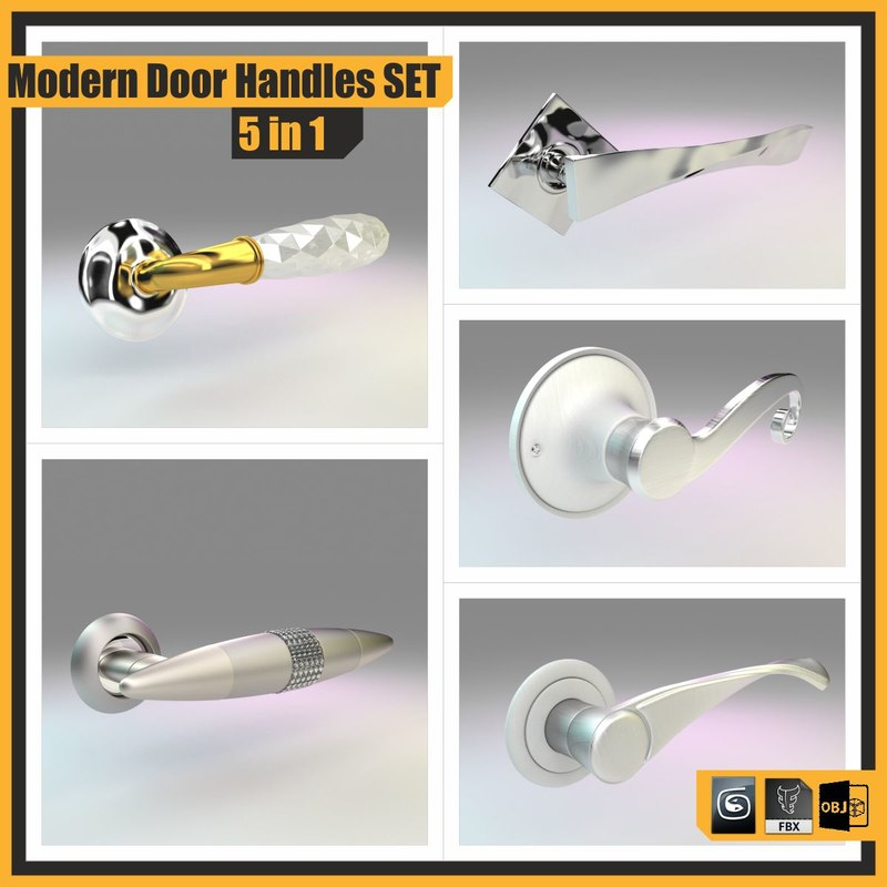 3d model of modern door handles set