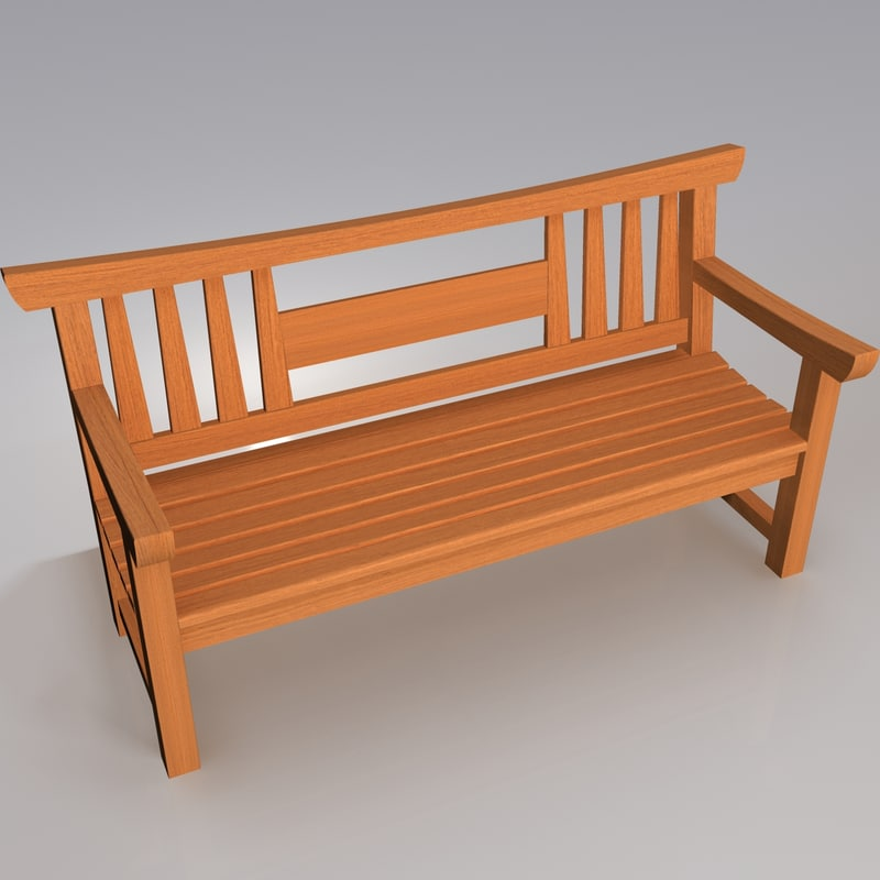 Wooden Japanese Garden Bench 3d Model