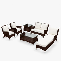 Wing garden furniture - Synthetic rattan, loveseat, armchair, coffee table, side table, lounger