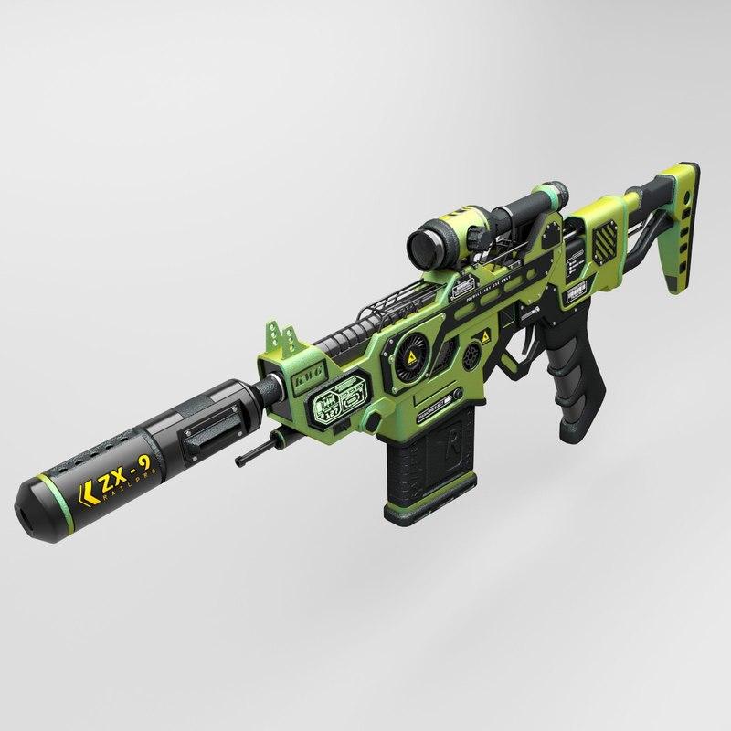 3d sci-fi railgun assault model
