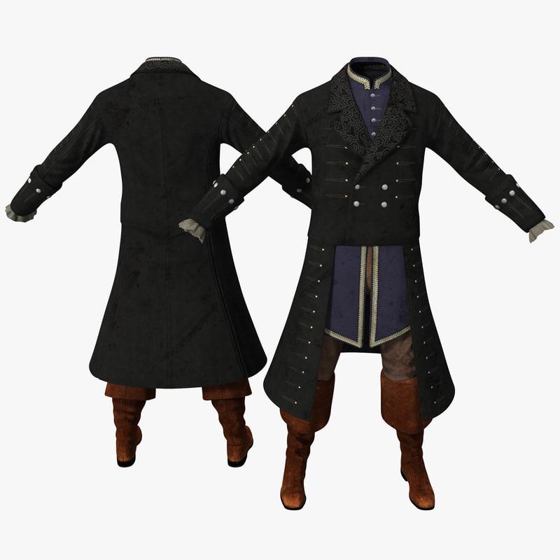 3d model 18th century mens costume