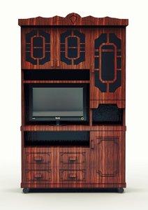 library bookcase doors tv 3d obj