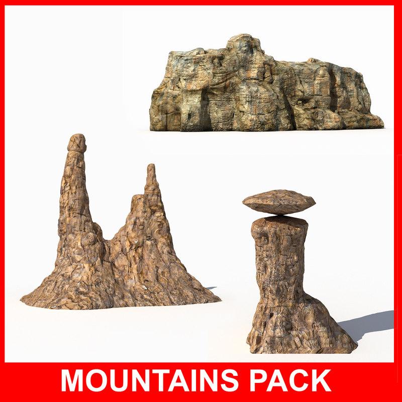 3d mountains model
