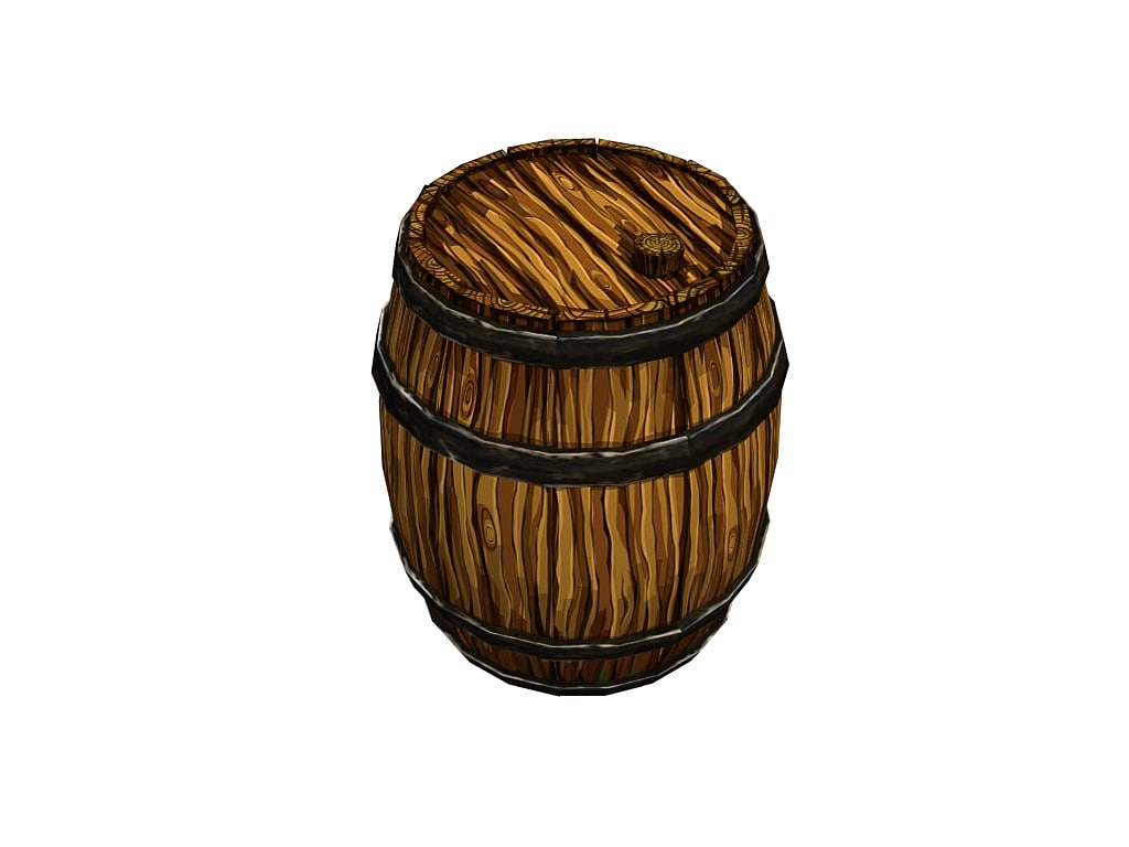 x low-poly wooden barrel
