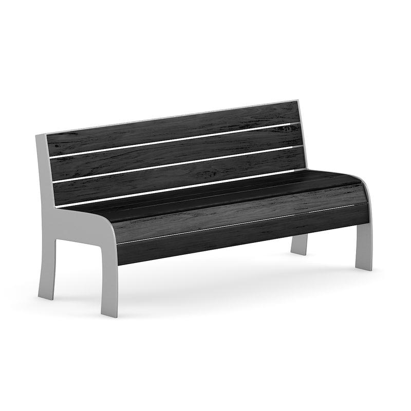 3d black wood bench