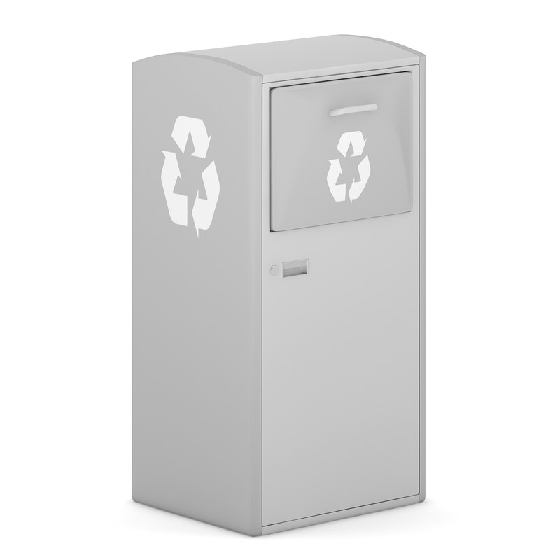 grey recycle bin 3d model