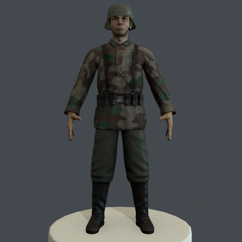 german ww2 soldier 3d max