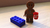 gingerbreadman lego minifig 3d model