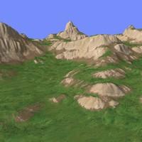 3d model grassy terrain tm1-02
