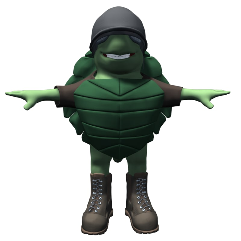 maya cartoon turtle character