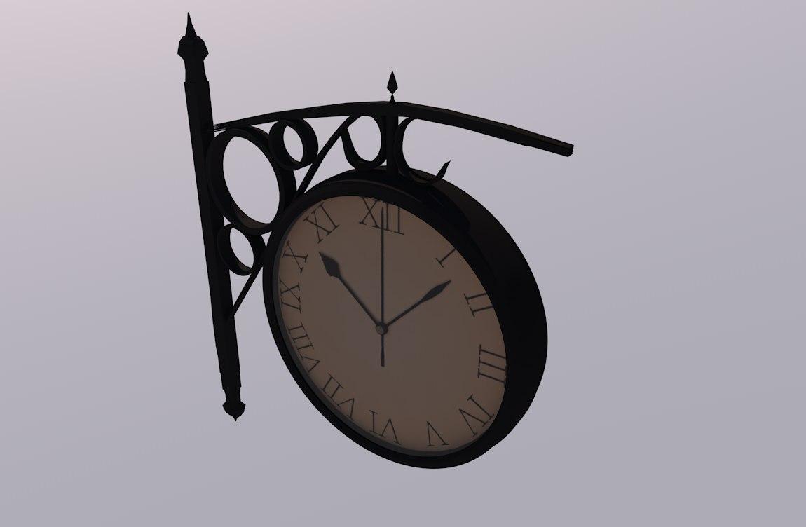 free train clock 3d model