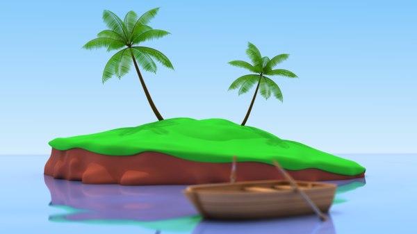 cartoon palm tree 3d obj