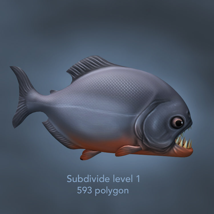 3d piranha fish model