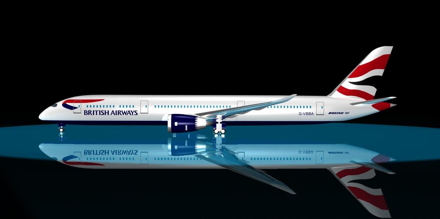 3d max british airways 787-9 dreamliner