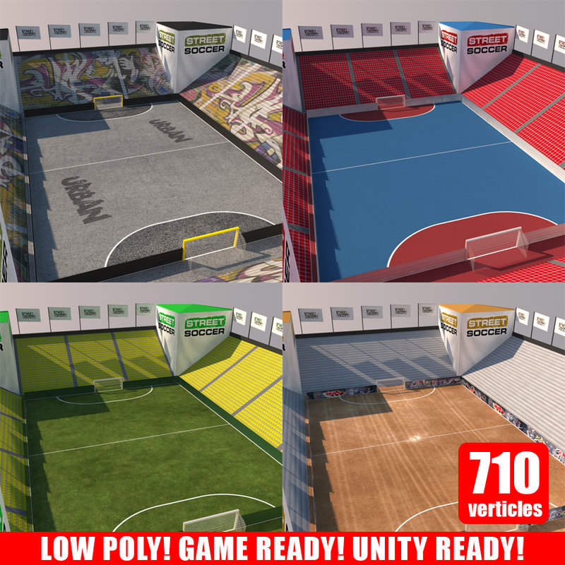 3d street soccer court model