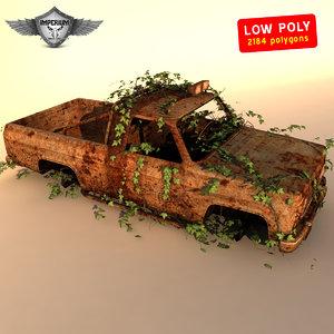 wrecked car 3d obj
