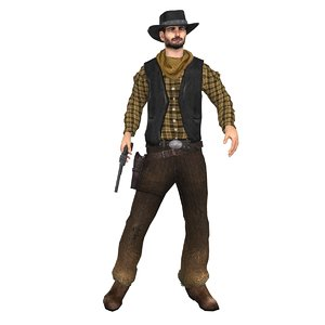 3d model wild cowboy rigged