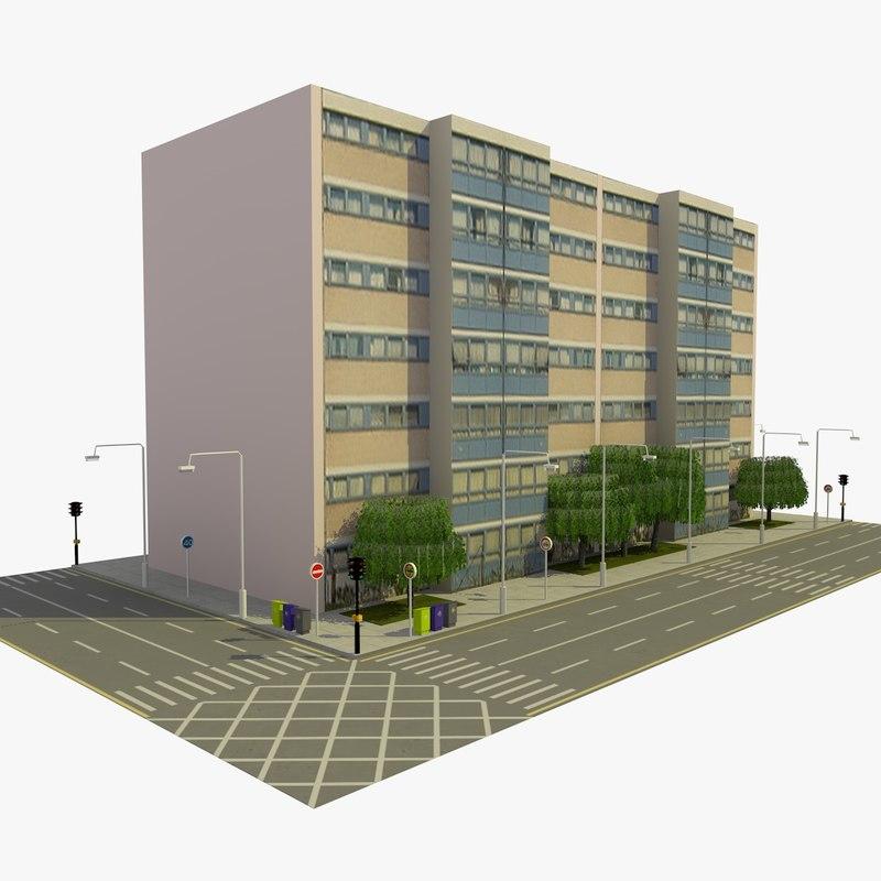 city block 9 street 3d 3ds