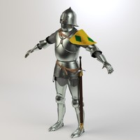 century knight armour character 3d model