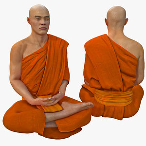 3ds max buddhist monk seated meditation