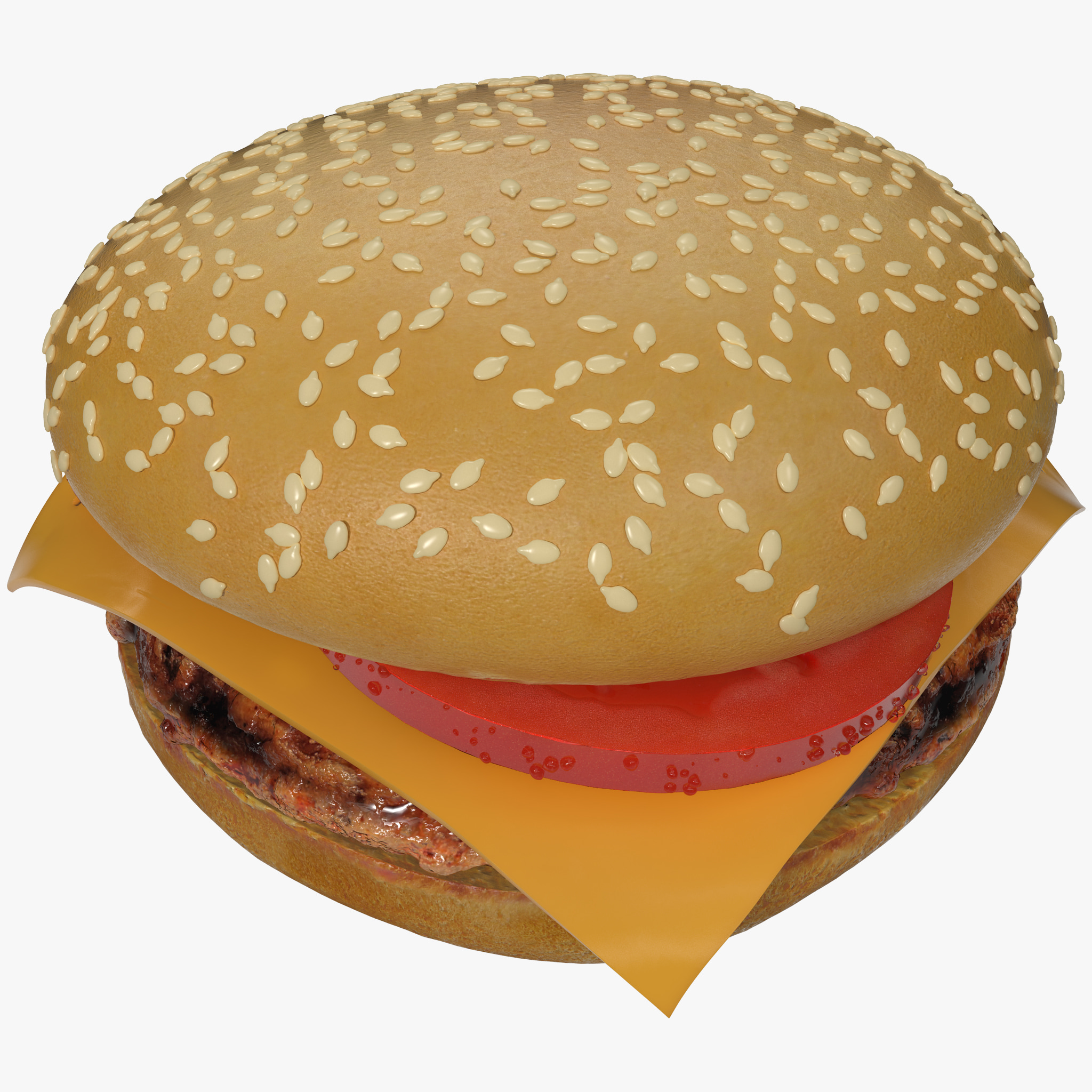 3d cheeseburger burger