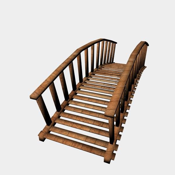 3d wooden wood bridge