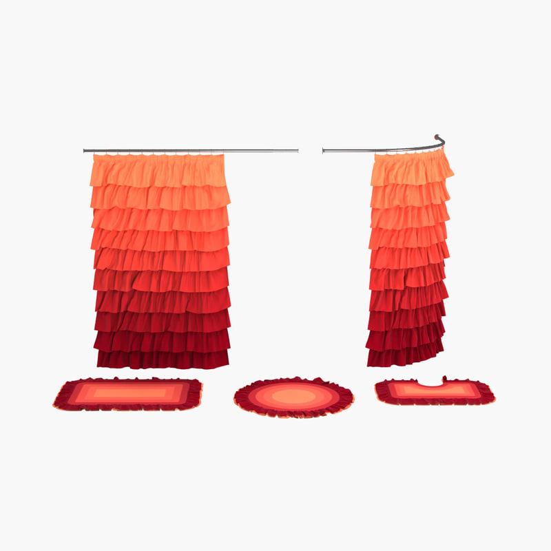 free shower curtain bath mats 3d model