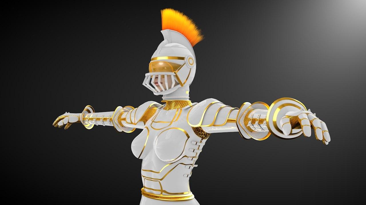 free c4d model warrior woman character