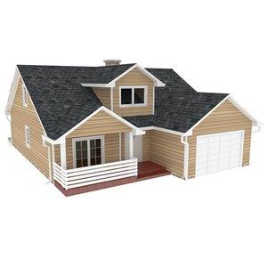 3d classic single family house
